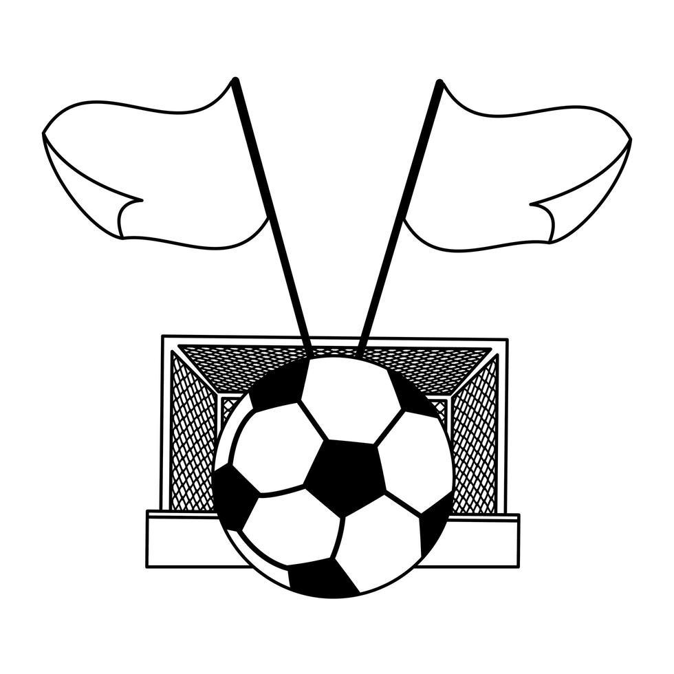 porta da calcio, palla e bandiere in bianco e nero vettore
