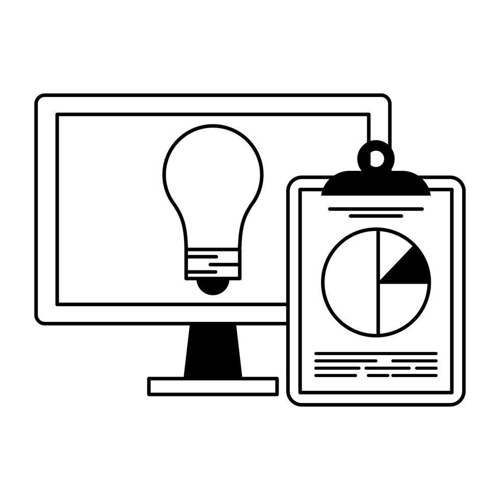 computer con lampadina e statistiche simbolo appunti in bianco e nero vettore