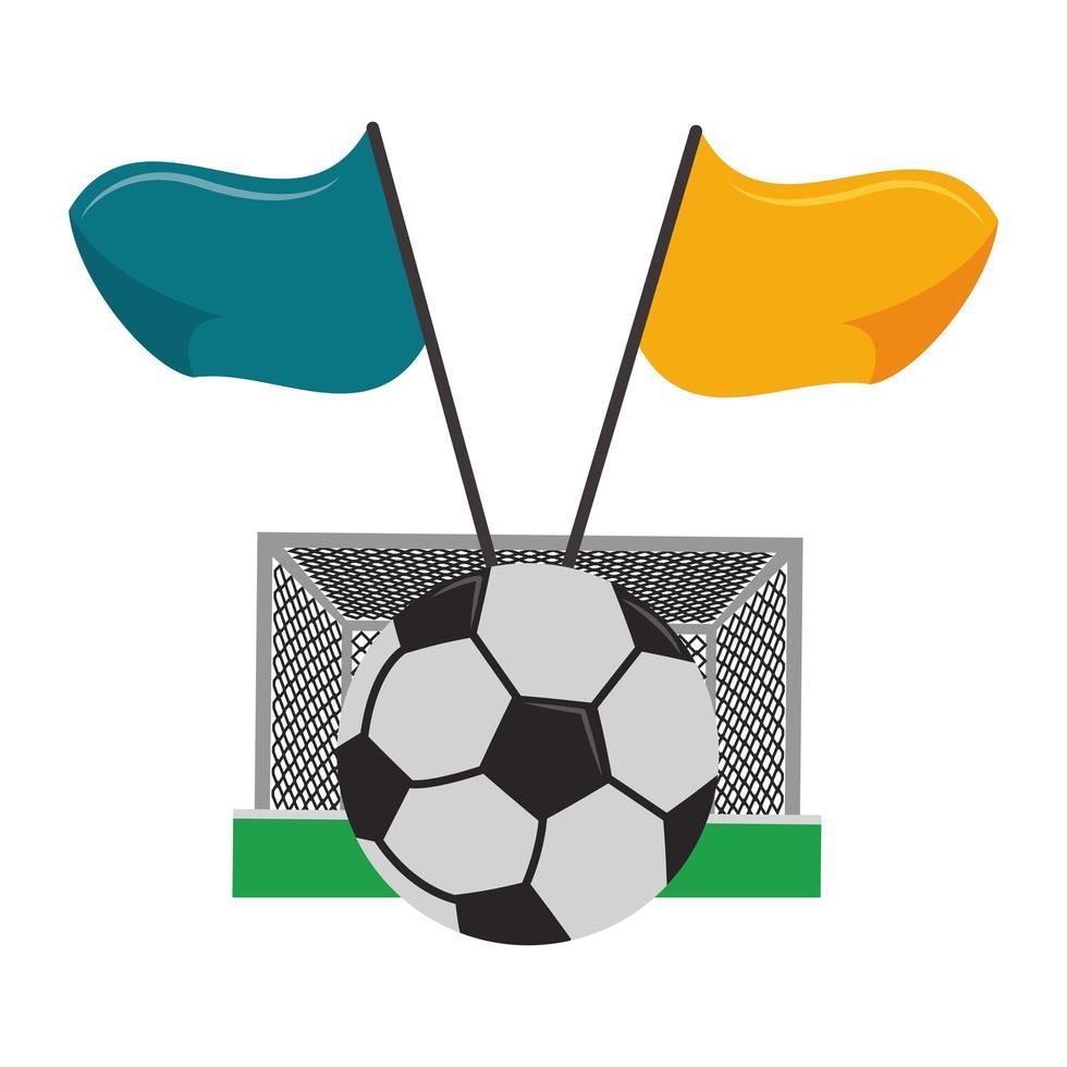 porta da calcio, palla e bandiere vettore