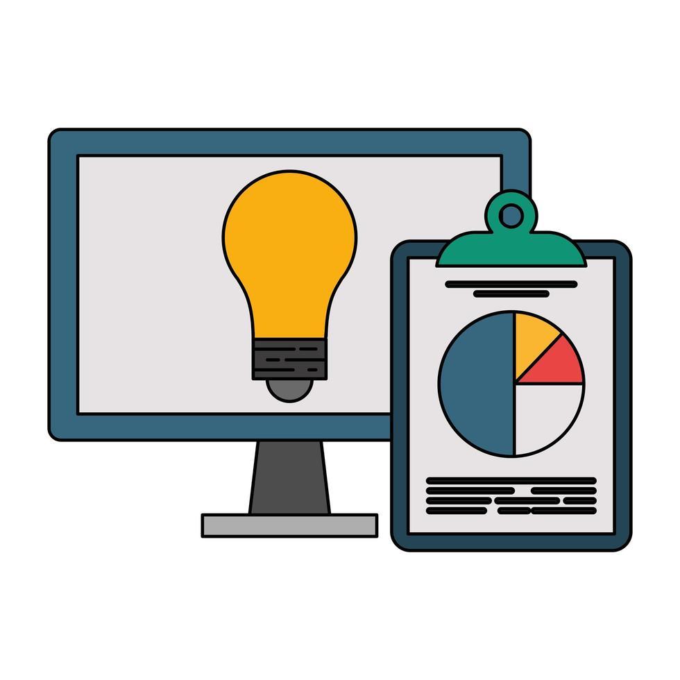 computer con lampadina luce e statistiche simbolo appunti vettore