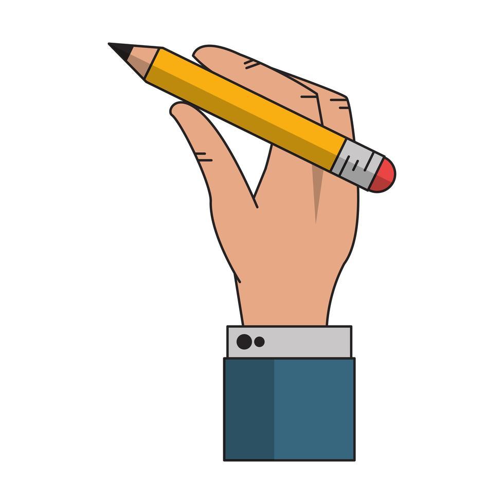 mano dell'uomo d'affari che tiene il fumetto della matita vettore