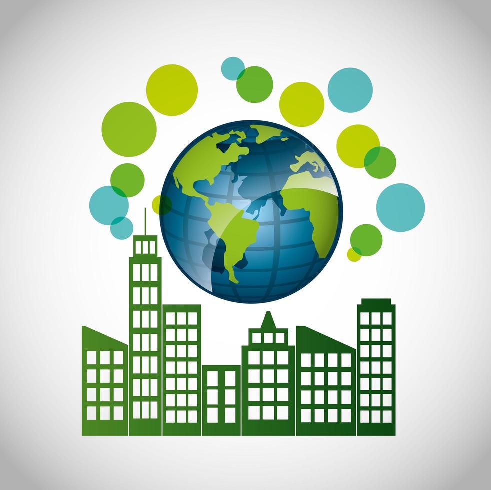 poster ecologico con edifici della città vettore