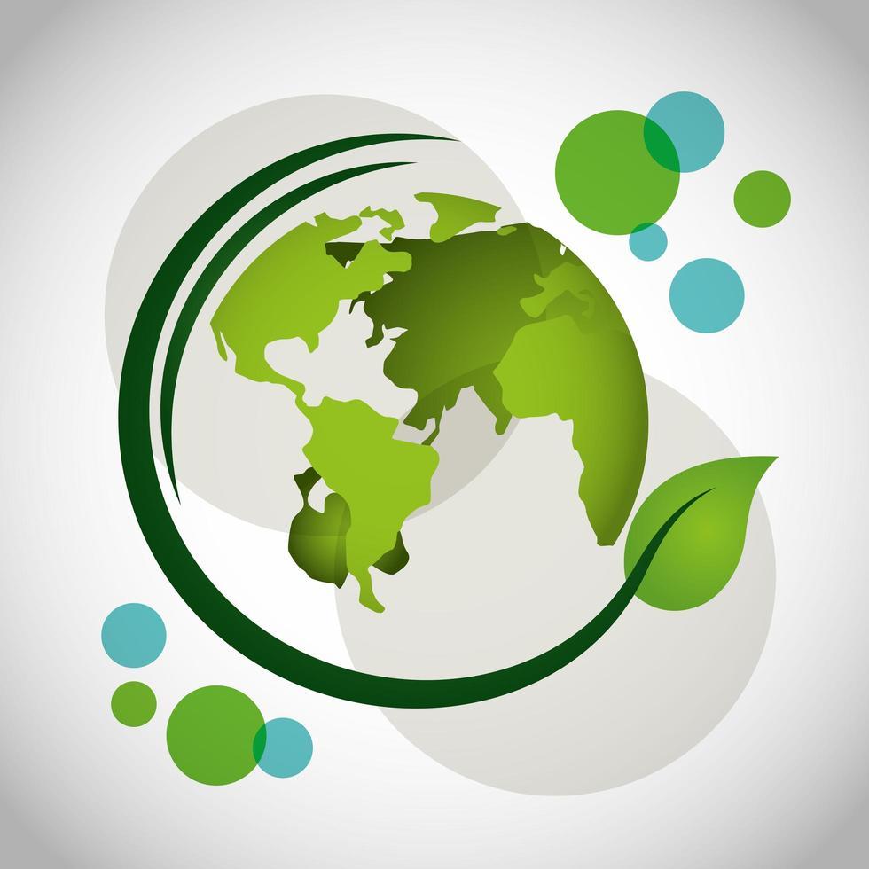 poster ecologico con pianeta terra e pianta di foglie vettore