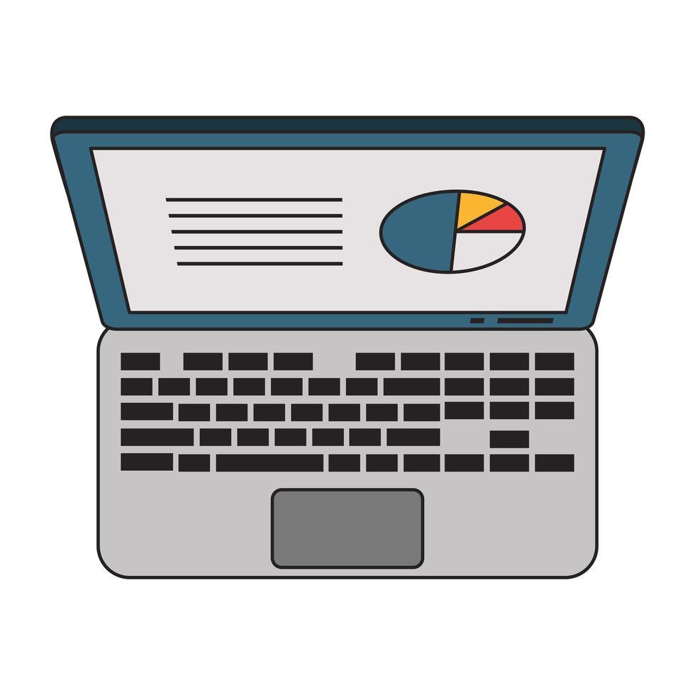 portatile con simbolo di profitto di statistiche aziendali vettore