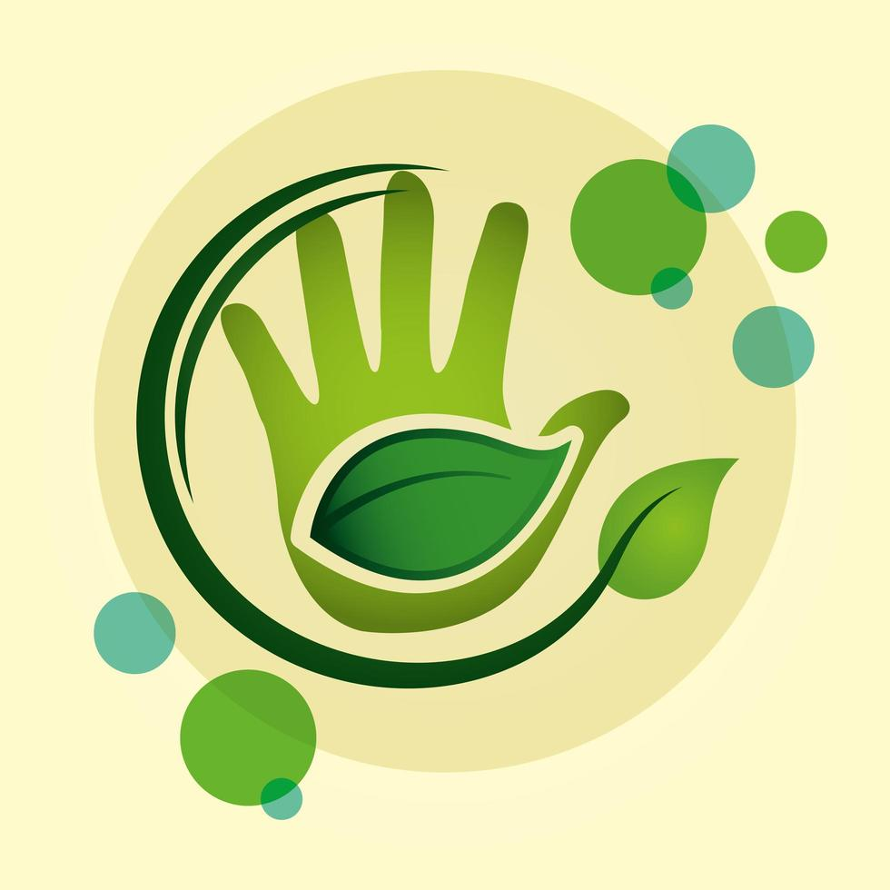poster ecologico con mano e foglie vettore