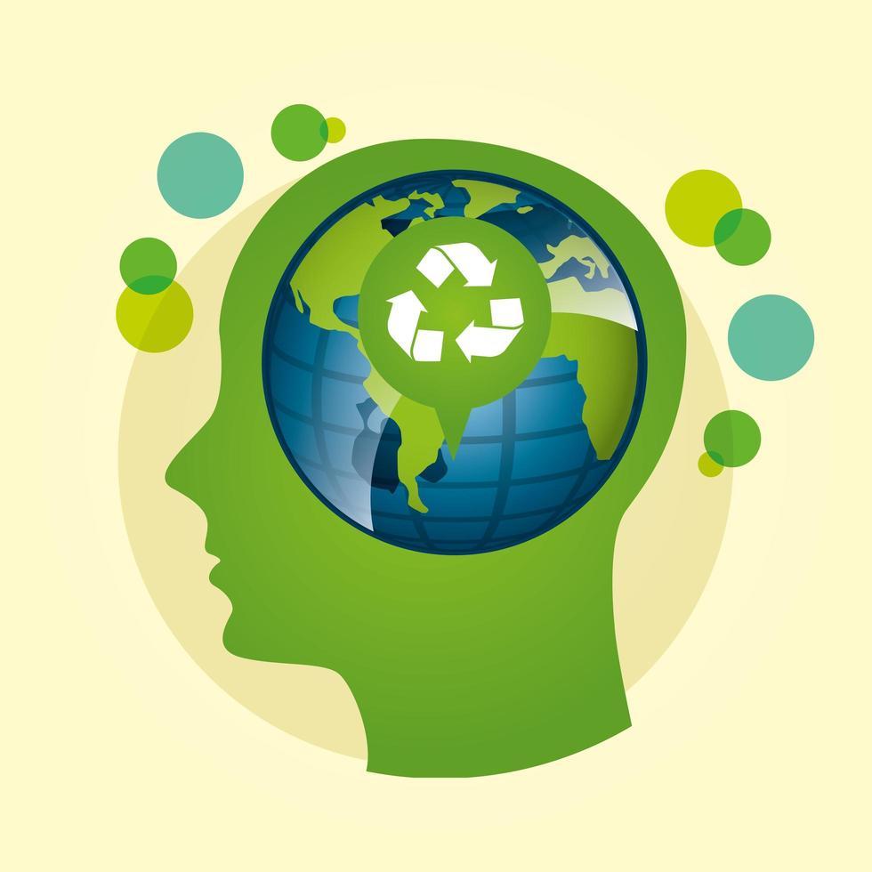 poster ecologico con pianeta terra e profilo umano vettore