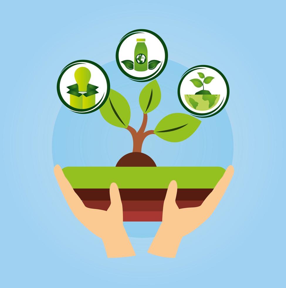 poster ecologico con mano che solleva una pianta vettore