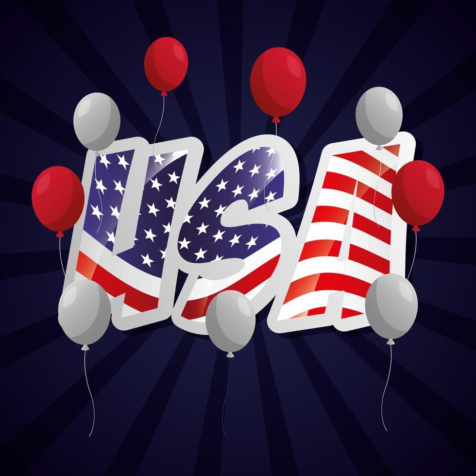 poster di celebrazione del giorno dei presidenti con bandiera e palloncini vettore