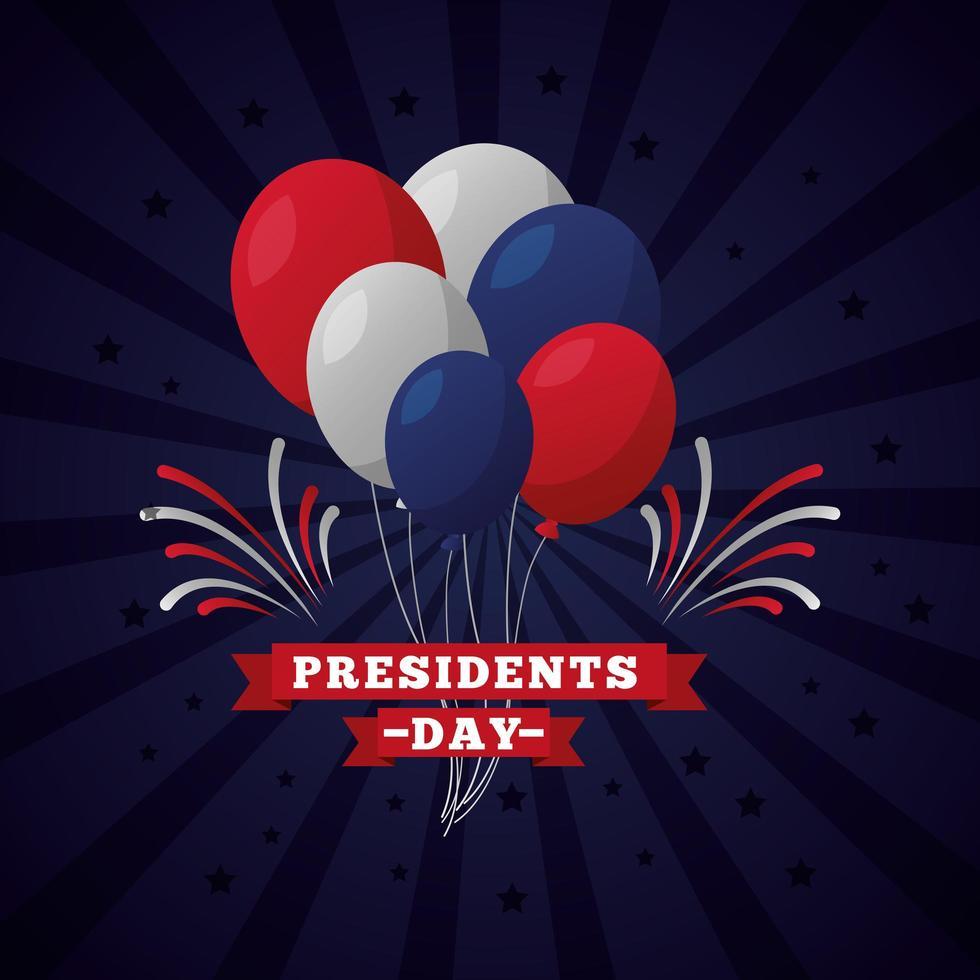celebrazione del giorno dei presidenti con scritte e palloncini vettore