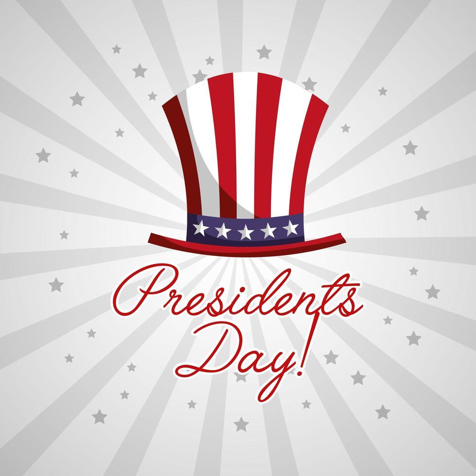 felice poster di celebrazione del giorno dei presidenti degli Stati Uniti con cappello a cilindro vettore