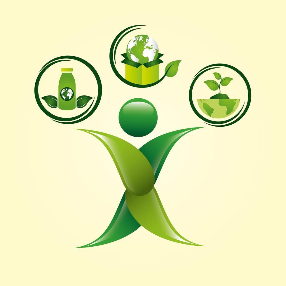 poster ecologico con figura umana e icone vettore