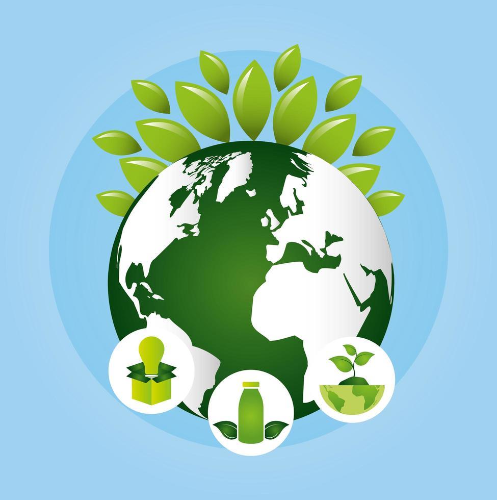 poster ecologico con pianeta terra e foglie vettore