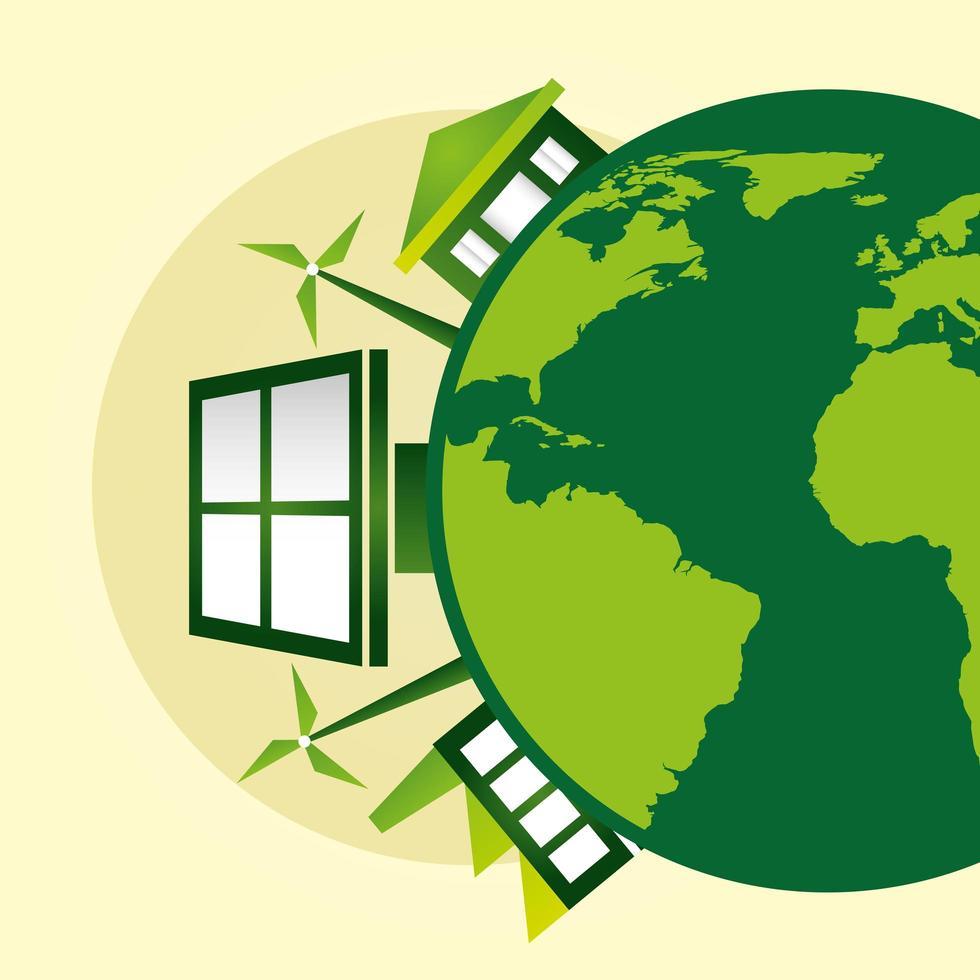 poster ecologico con pianeta terra e pannello solare vettore