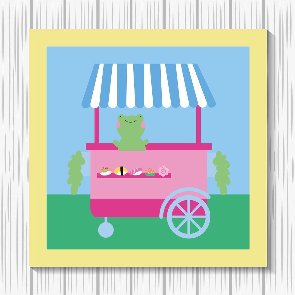 kawaii carina piccola rana con carrello di cibo vettore