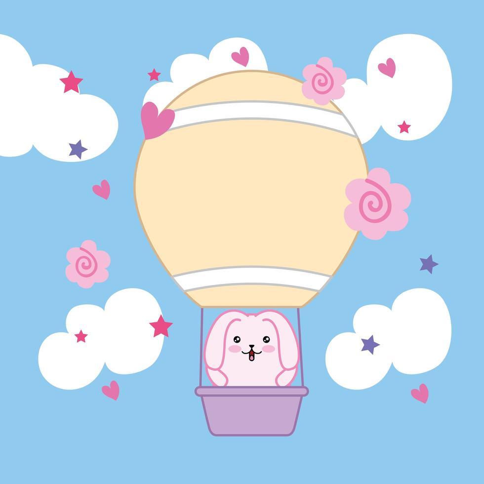 simpatico coniglietto in mongolfiera vettore