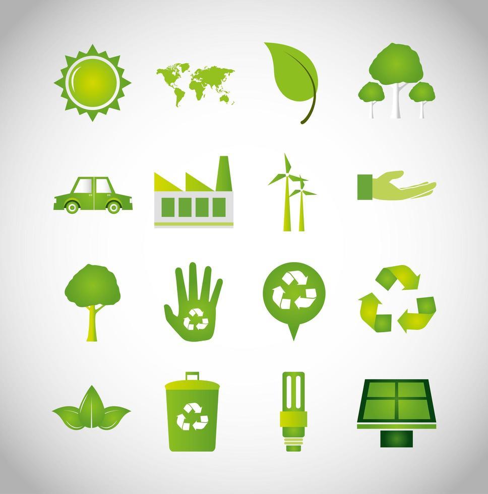 pacchetto di icone di ecologia vettore