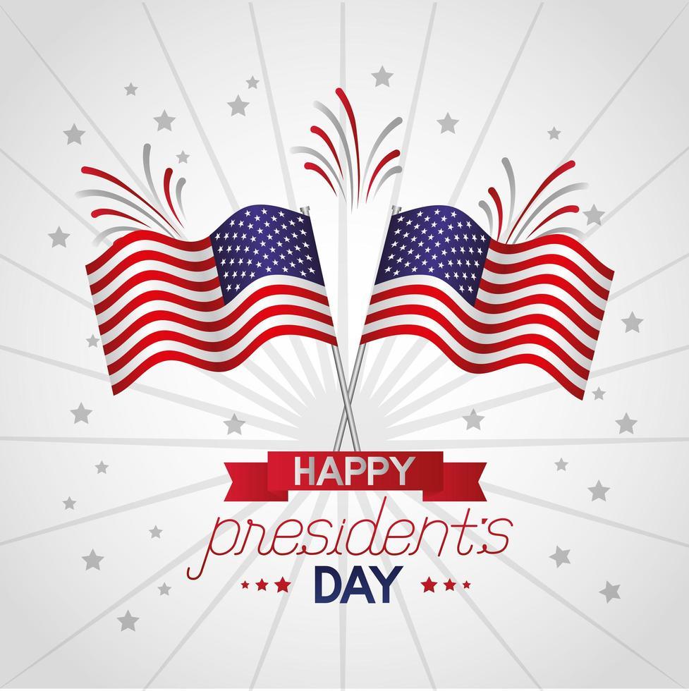 felice poster di celebrazione del giorno dei presidenti con bandiere usa vettore