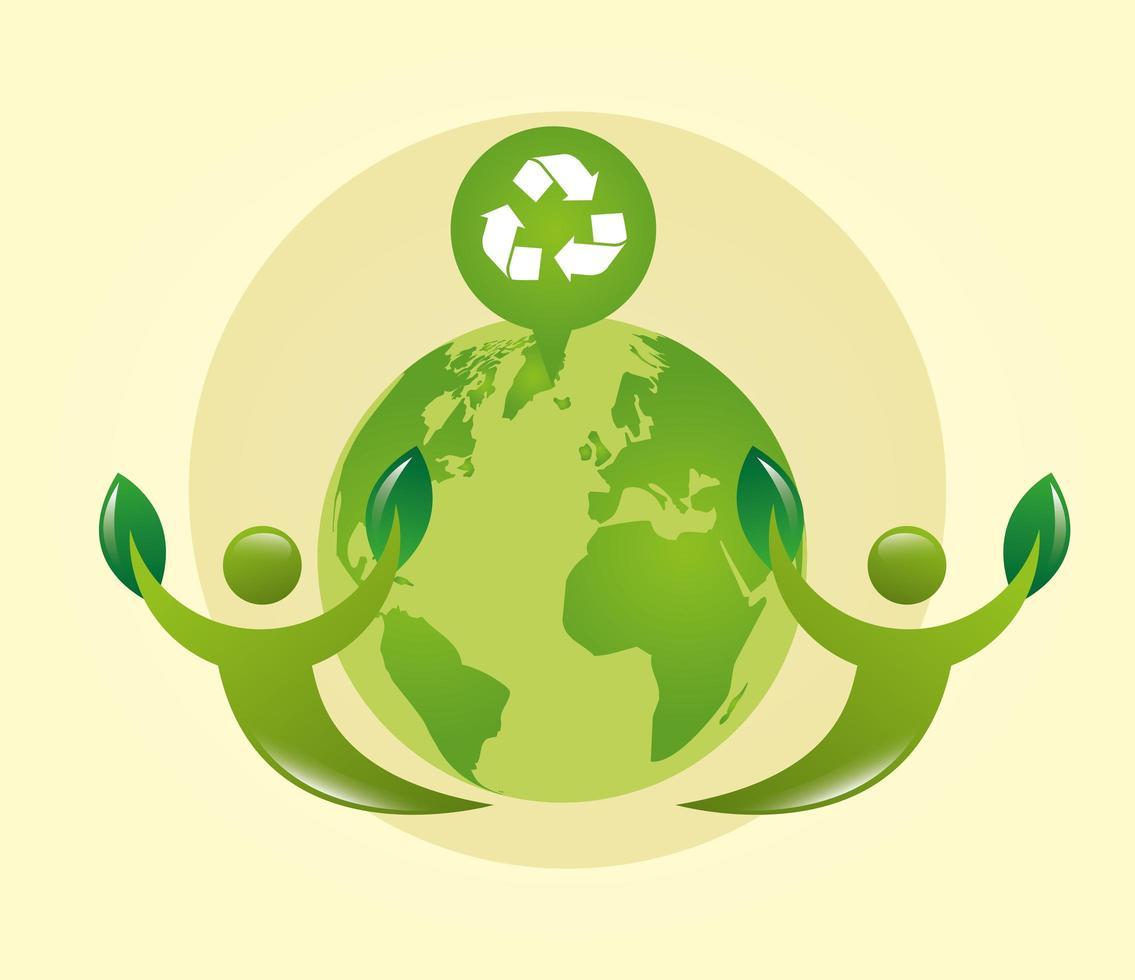 poster ecologico con pianeta terra e simbolo di riciclo vettore