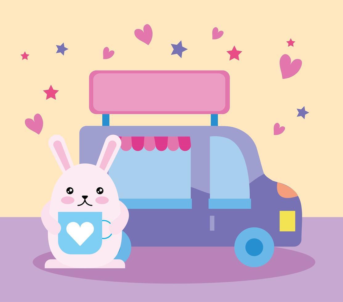 simpatico coniglietto con camion di cibo, personaggio kawaii vettore