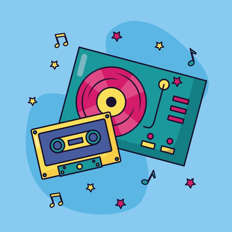 giradischi e cassette musicali sfondo colorato vettore