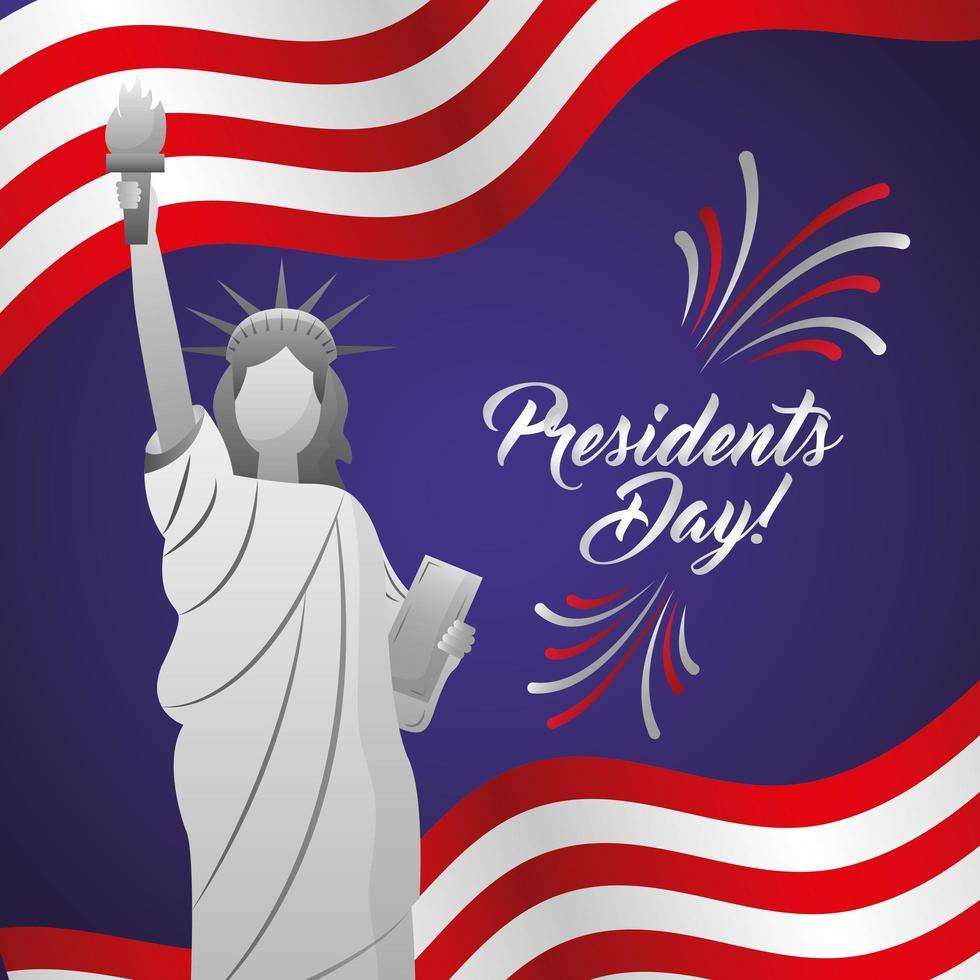 poster di celebrazione felice giorno dei presidenti con statua americana vettore