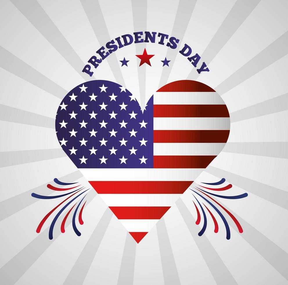 poster di celebrazione felice giorno dei presidenti con cuore usa vettore