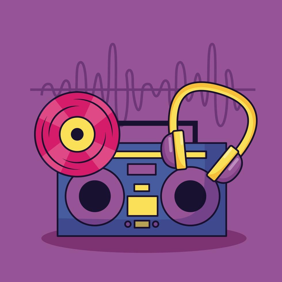 vintage boombox stereo in vinile e cuffie musica di sottofondo colorato vettore