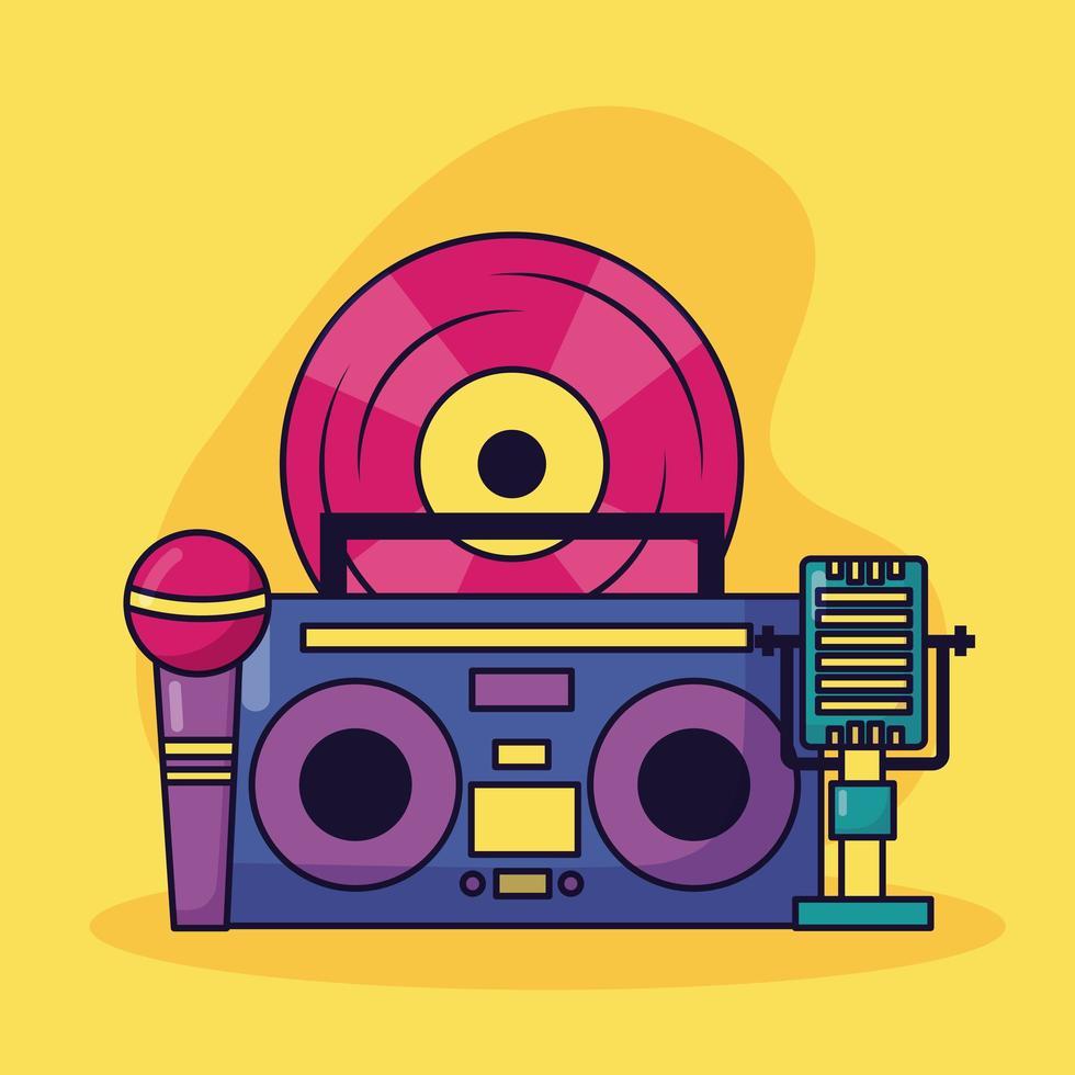 boombox vinile microfono musica sfondo colorato vettore