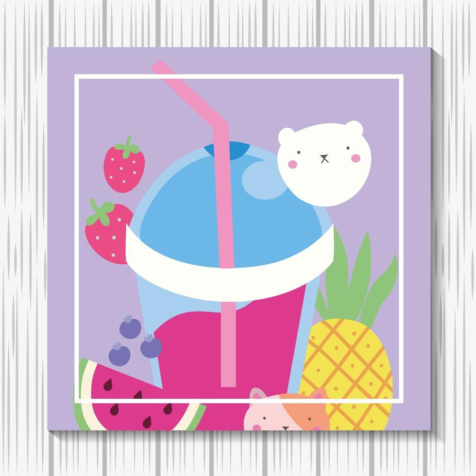 simpatico gattino con frullato di frutta, personaggio kawaii vettore