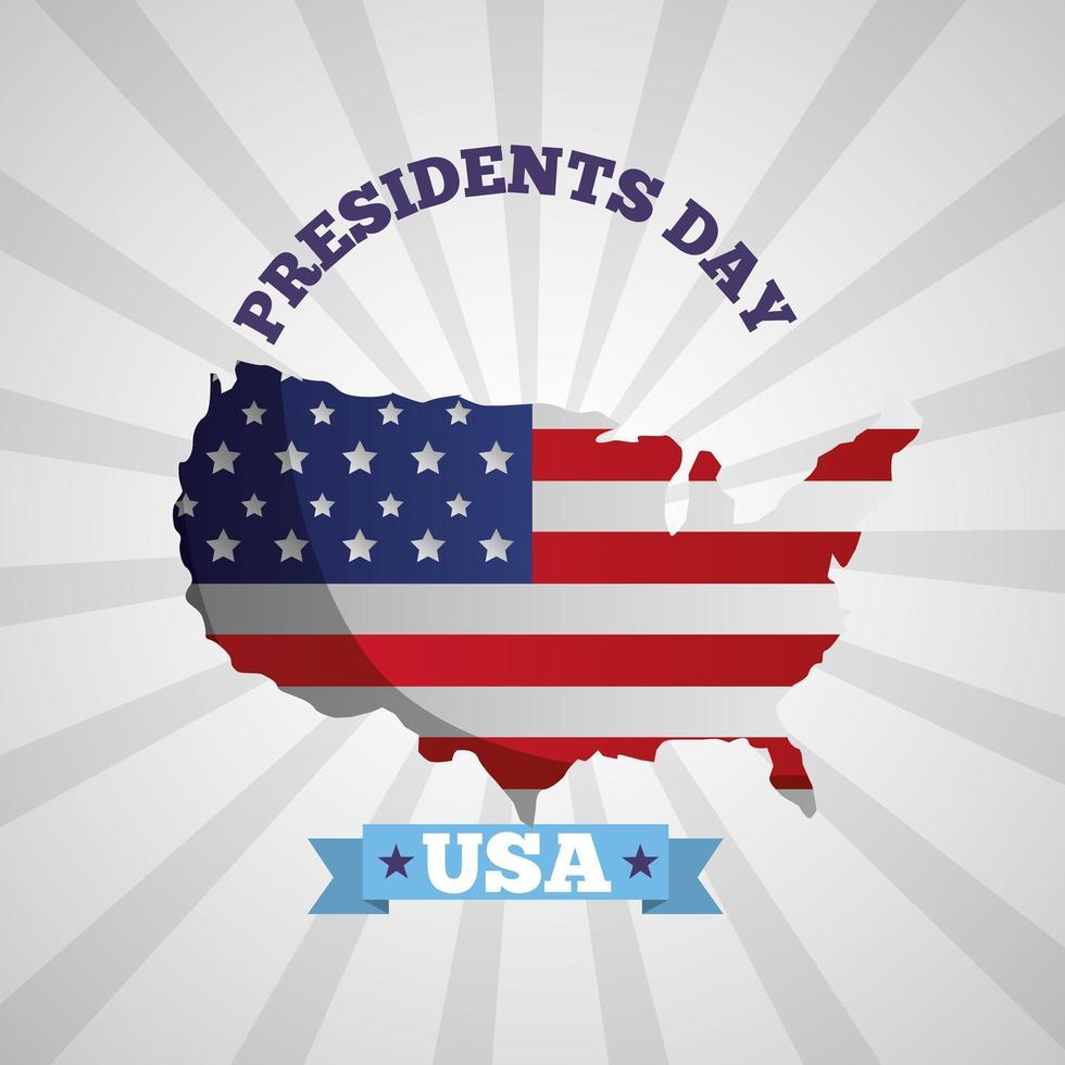 felice poster di celebrazione del giorno dei presidenti con bandiera usa nella mappa vettore