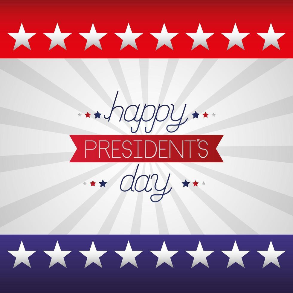 felice poster di celebrazione del giorno dei presidenti con scritte e bandiera vettore