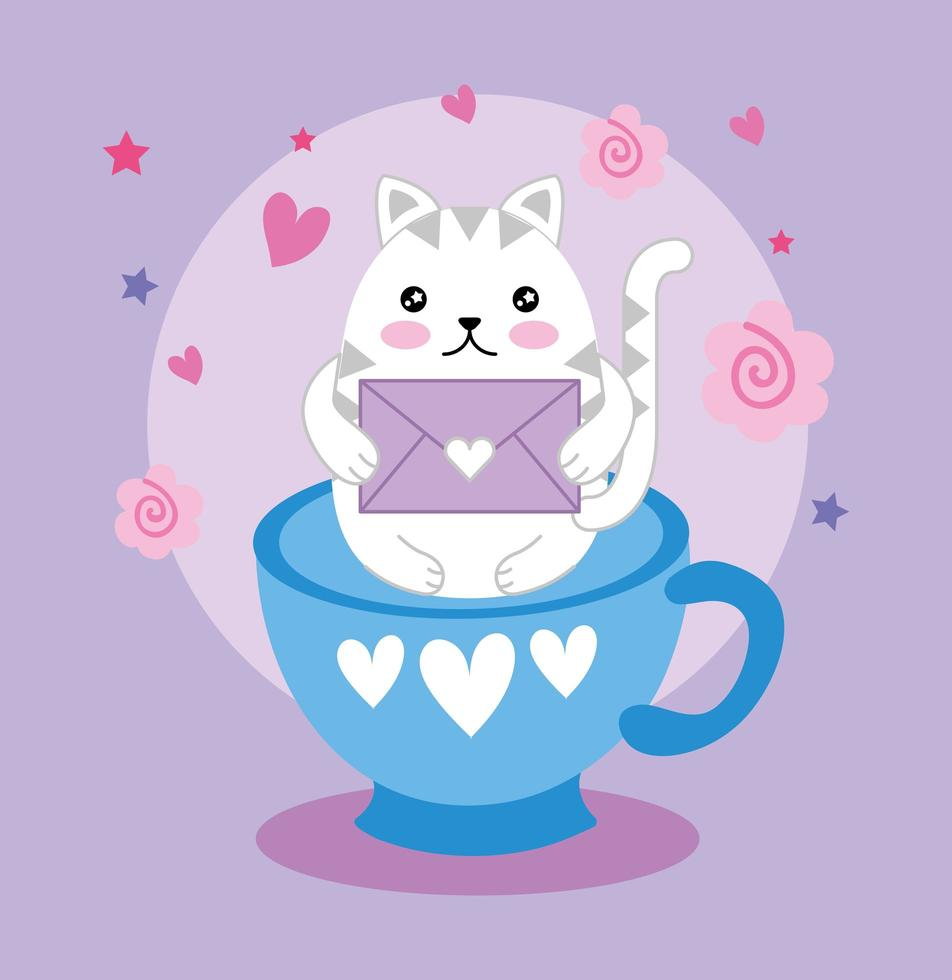 simpatico gattino con busta in una tazza, personaggio kawaii vettore