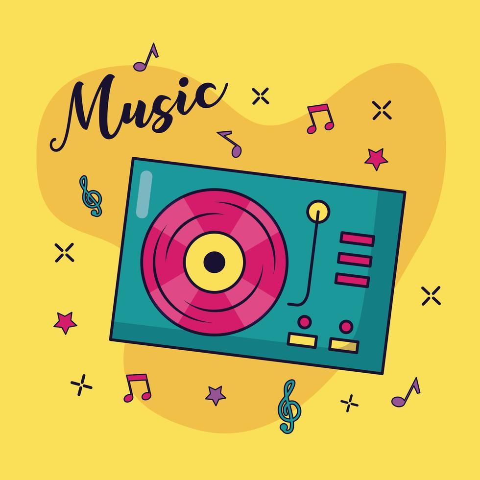 giradischi disco in vinile musica di sottofondo colorato vettore