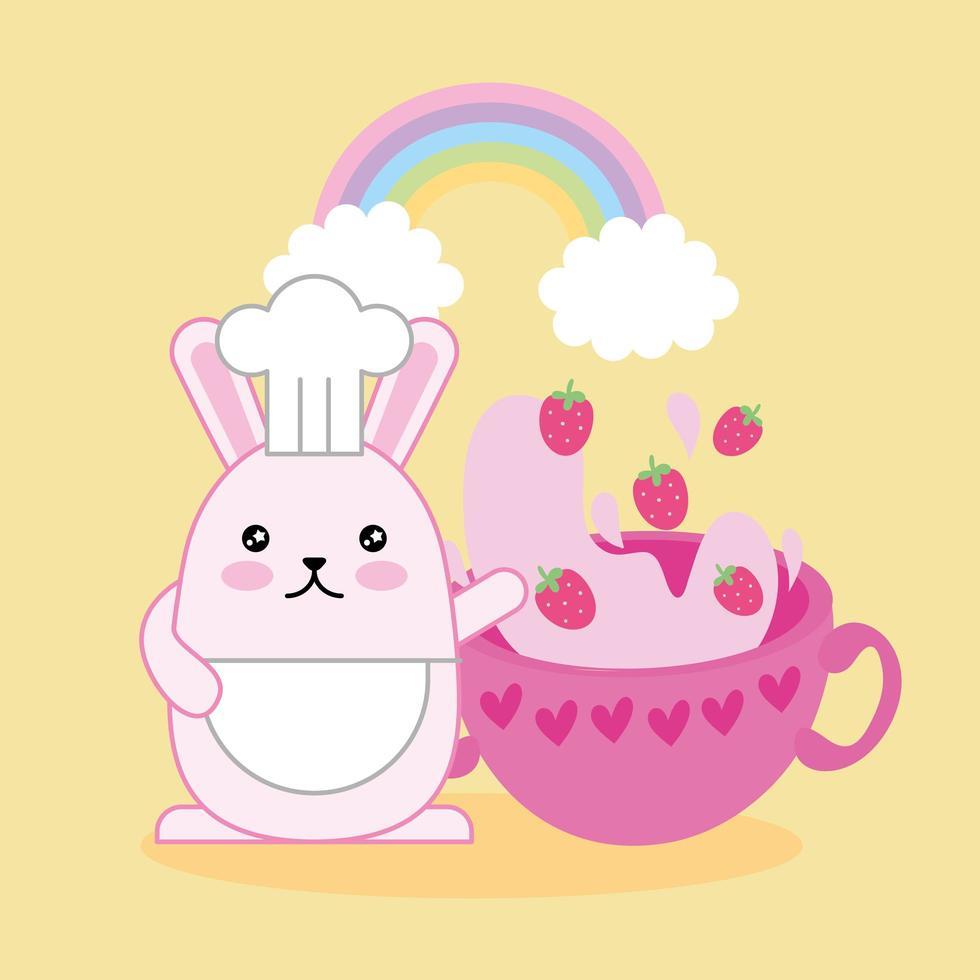 simpatico coniglietto kawaii con frullato di fragole vettore