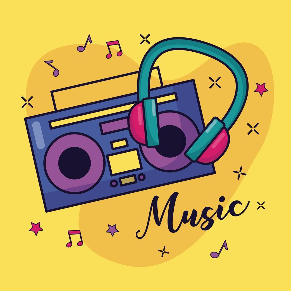 boombox e cuffie musica di sottofondo colorato vettore