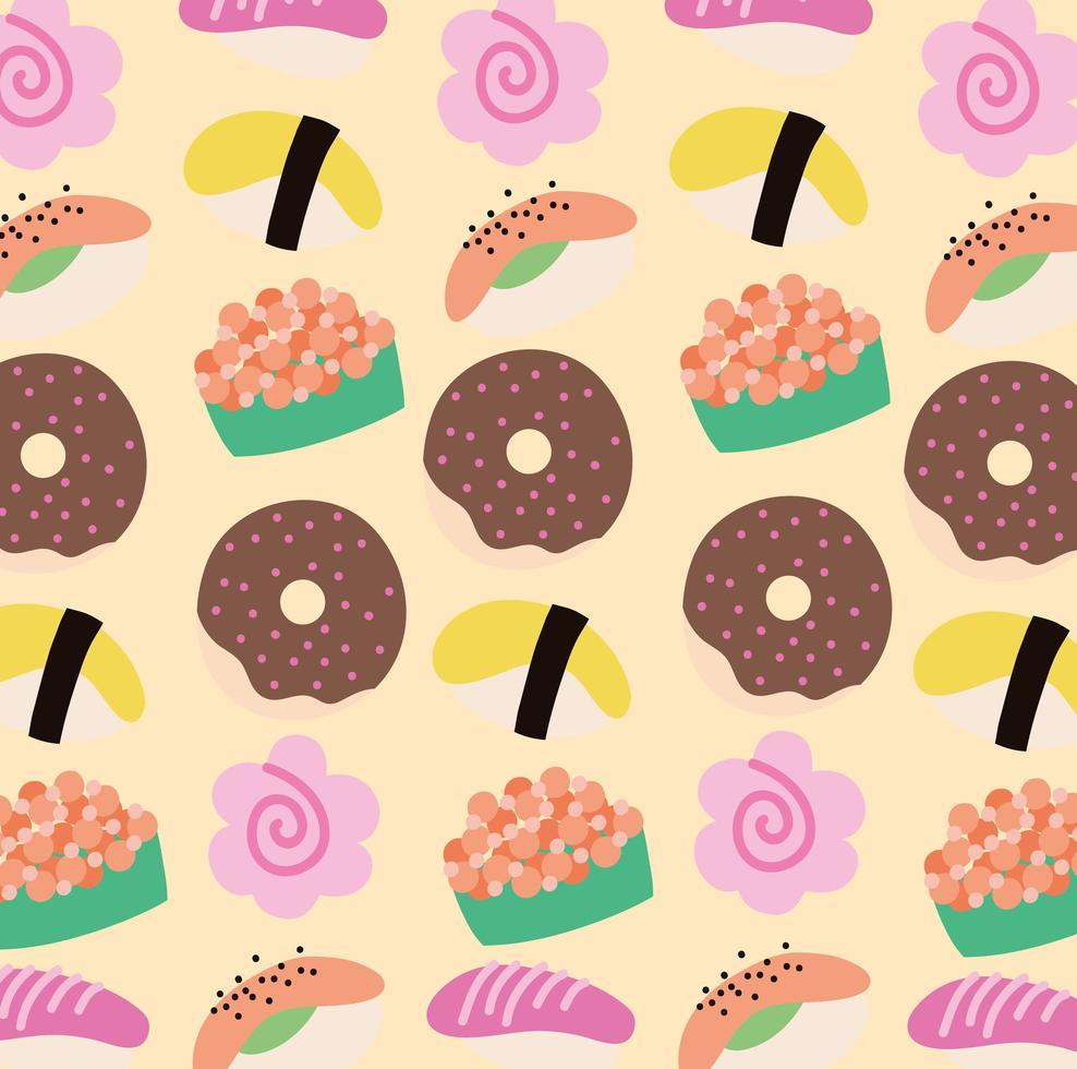 modello di stile kawaii cibo pasticceria dolce vettore