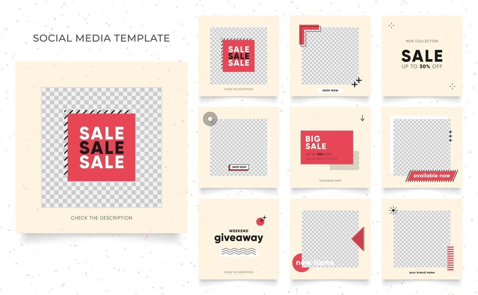 promozione di vendita di moda di blog di banner modello di social media. poster di vendita organica di puzzle con cornice quadrata completamente modificabile. sfondo vettoriale di forma elemento rosso fresco