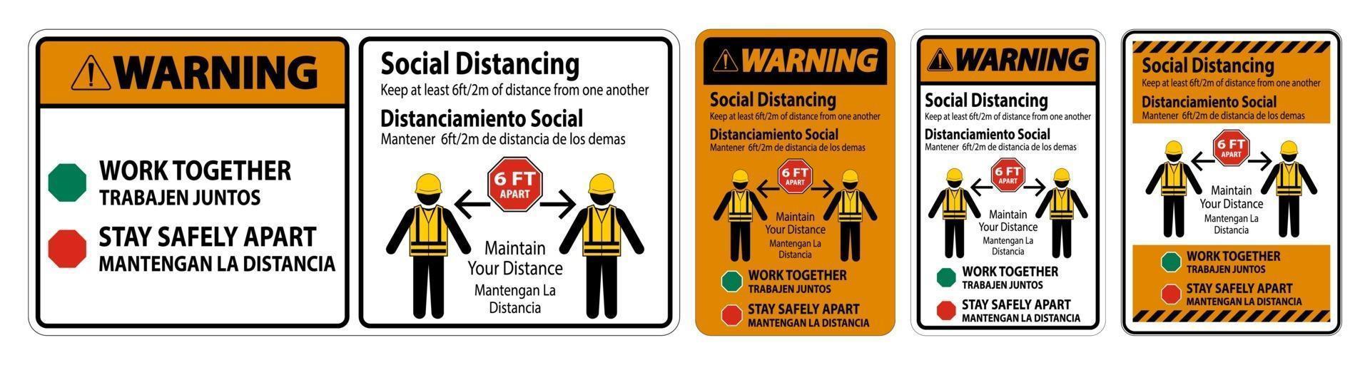 avviso bilingue costruzione di allontanamento sociale segno isolare su sfondo bianco vettore