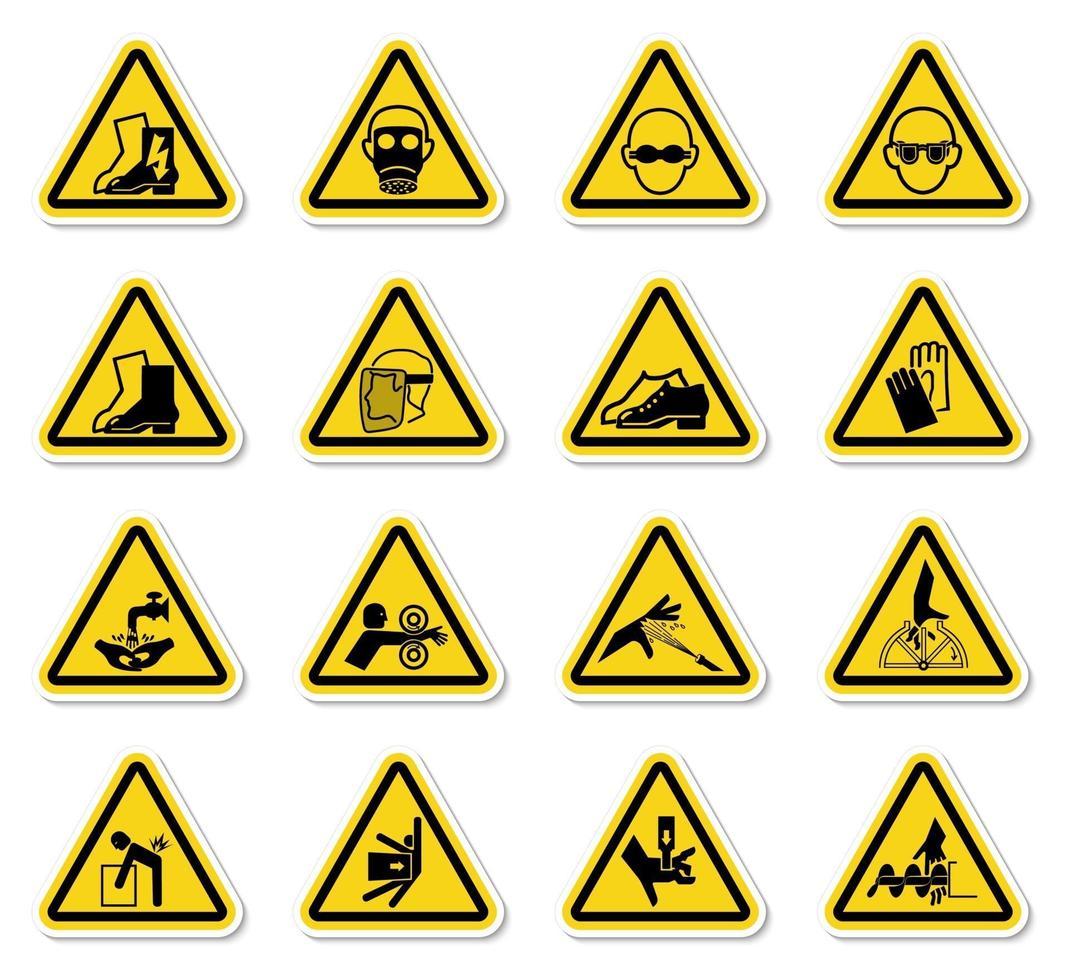 simboli di avvertimento pericolo simboli etichette isolare su sfondo bianco vettore