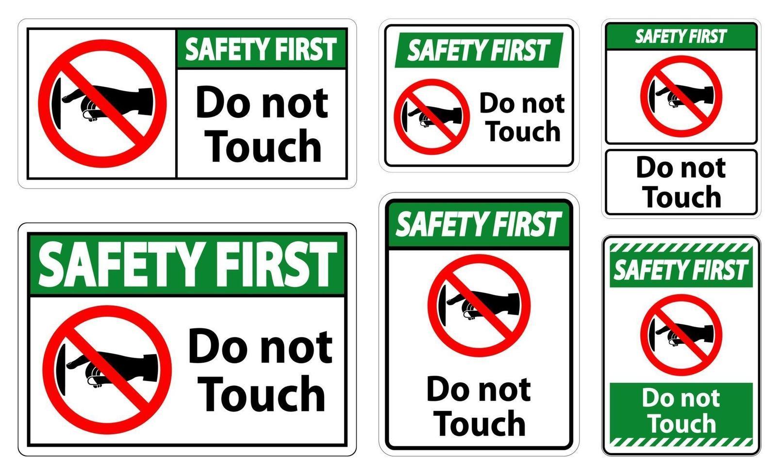 sicurezza prima non toccare l'etichetta del segno su sfondo trasparente vettore