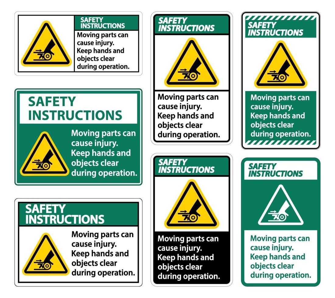 istruzioni di sicurezza parti in movimento possono causare segni di lesioni su sfondo bianco vettore