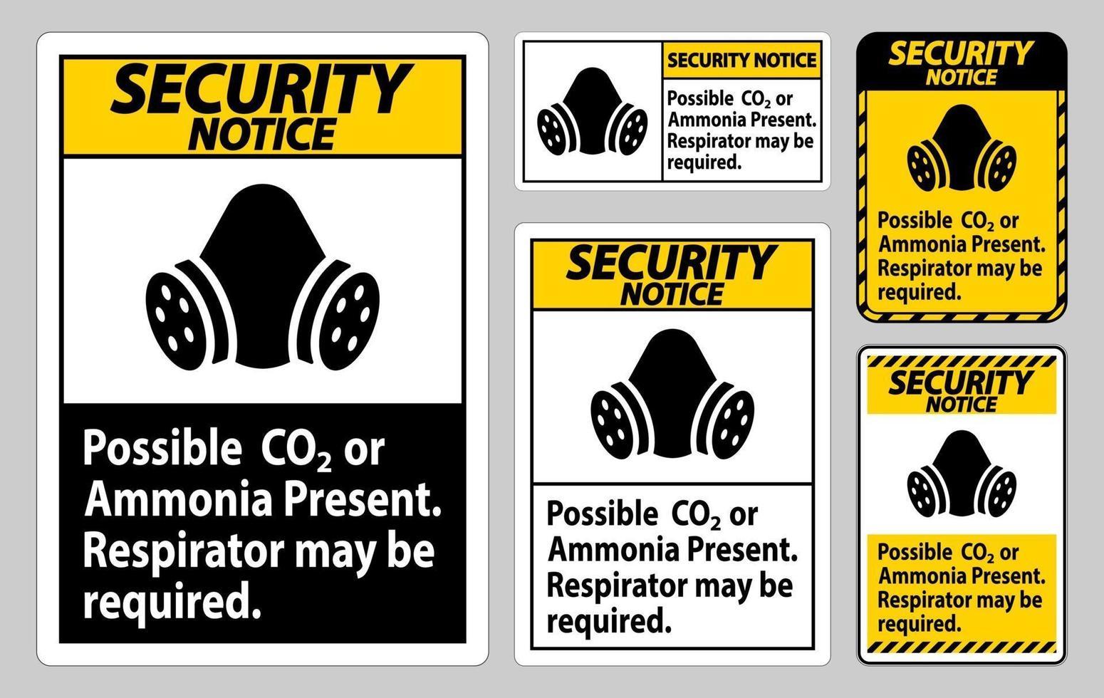 avviso di sicurezza segno DPI possibile presenza di co2 o ammoniaca, potrebbe essere necessario un respiratore vettore