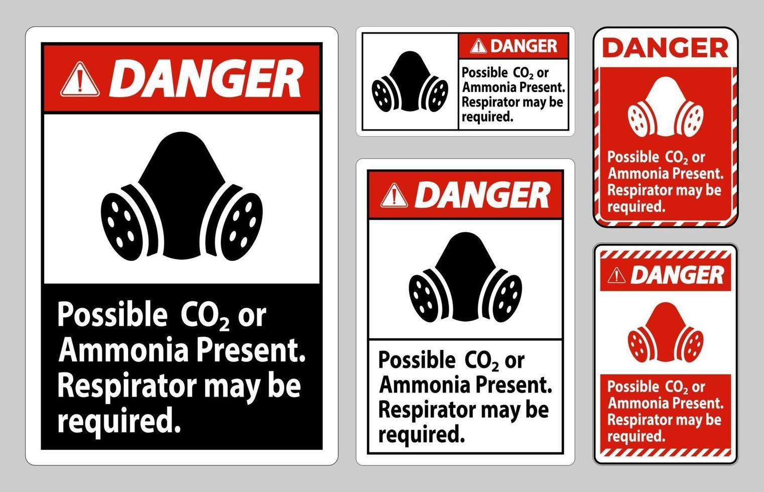 pericolo segnale DPI possibile presenza di co2 o ammoniaca, potrebbe essere necessario un respiratore vettore
