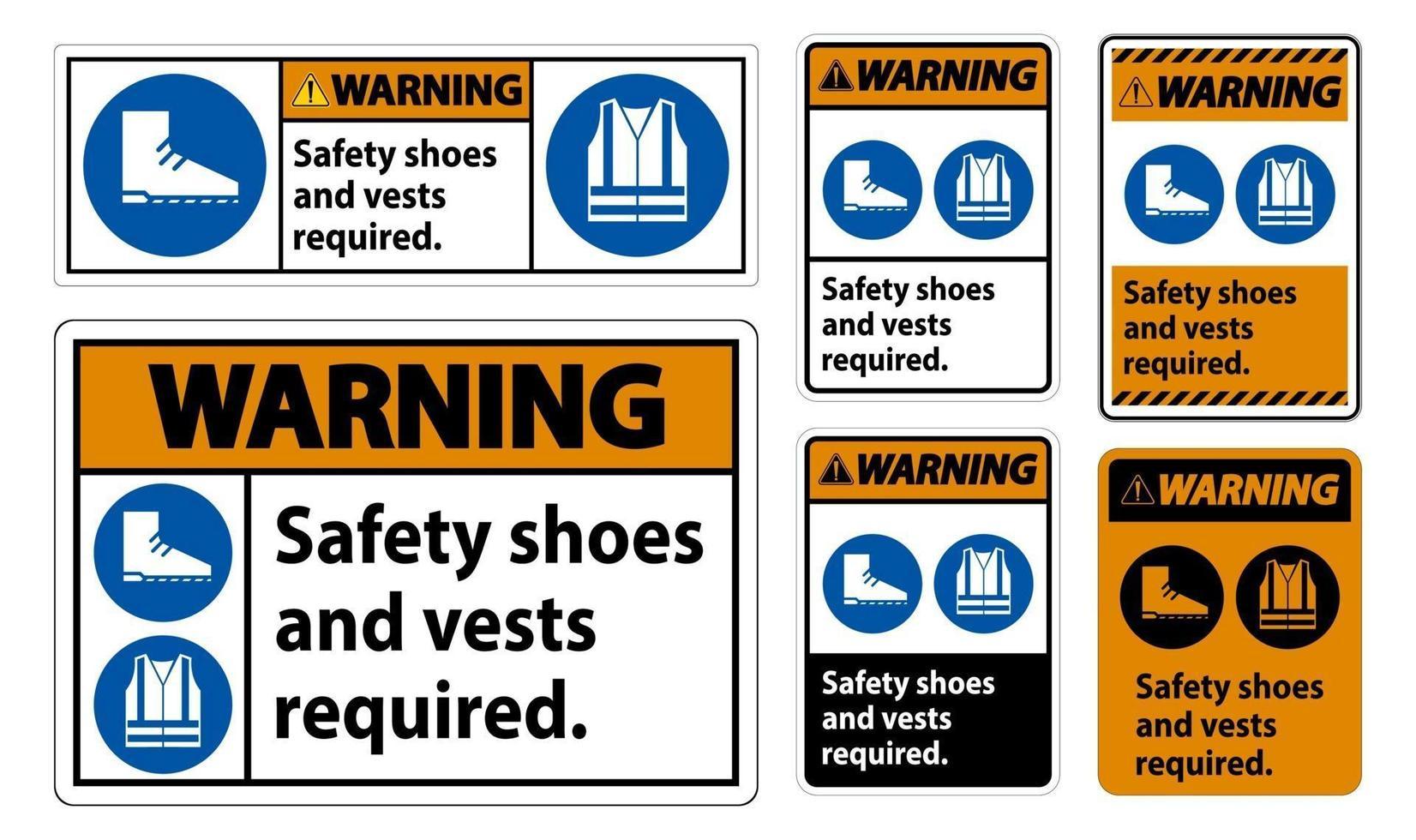 Segnale di avvertimento scarpe antinfortunistiche e gilet obbligatori con simboli ppe su sfondo bianco vettore