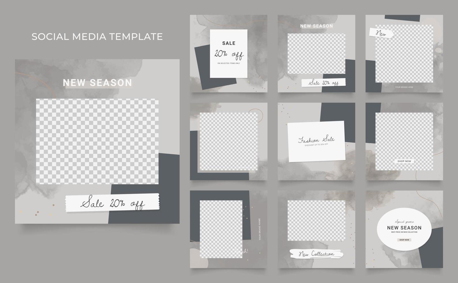 promozione di vendita di moda di blog di banner modello di social media. poster di vendita organica di puzzle con cornice quadrata completamente modificabile. sfondo vettoriale acquerello grigio marrone