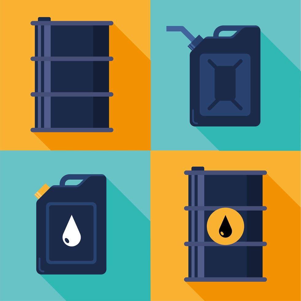 set di icone di barili di petrolio e galloni vettore