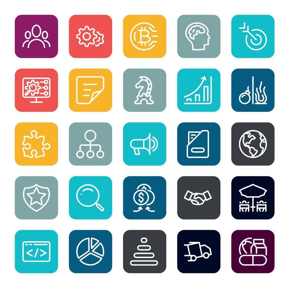 business marketing online o investimento finanziario vantaggio o ritorno icone con contorno su forma quadrata di colore vettore