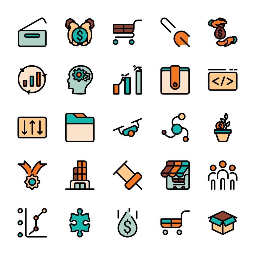 icone di contorno del design di marketing aziendale con riempimento di colore. vettore
