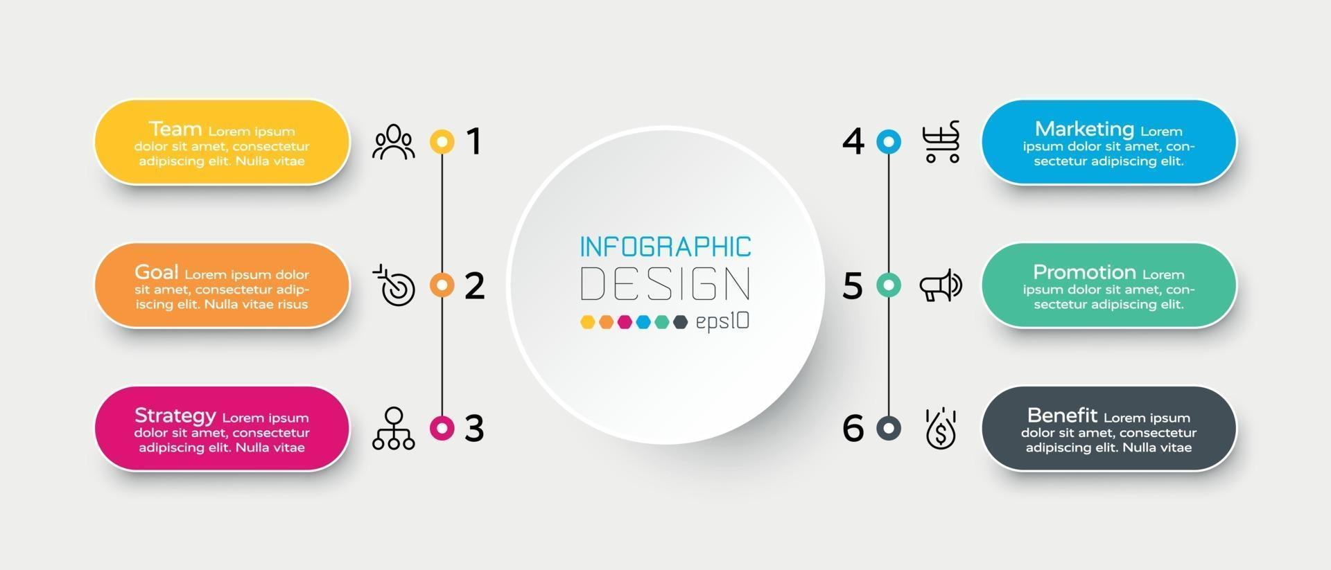 Il flusso di lavoro in 6 fasi descrive i processi e le funzioni dell'attività e del lavoro. vettore infografica.