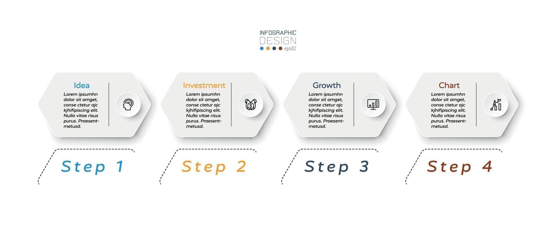 design moderno esagonale 4 passaggi per mostrare i risultati e posizionare il lavoro o riportare i risultati per affari, marketing o organizzazione. vettore infografica.